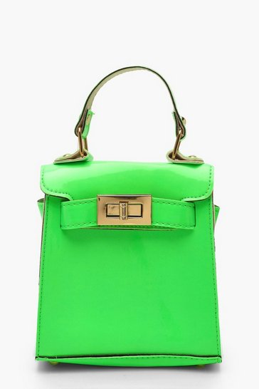 Womens Neon-green Neon Mini Lock Grab Bag