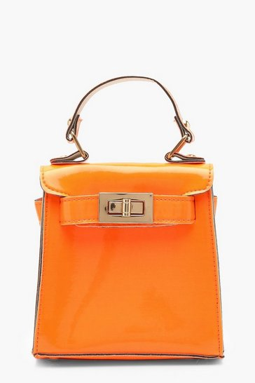Womens Neon-orange Neon Mini Lock Bag