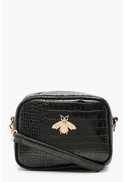 Black Croc Metal Bug Cross Body Bag