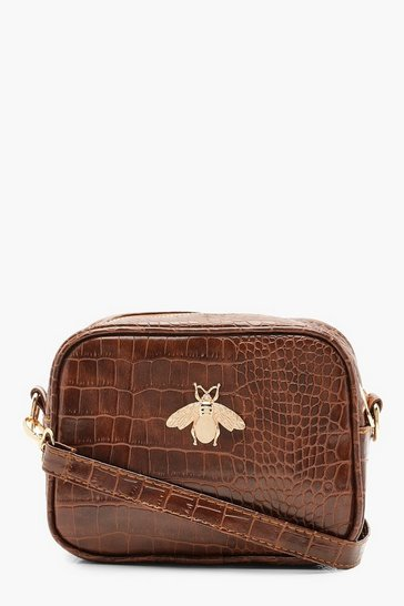 Womens Tan Croc Metal Bug Cross Body Bag