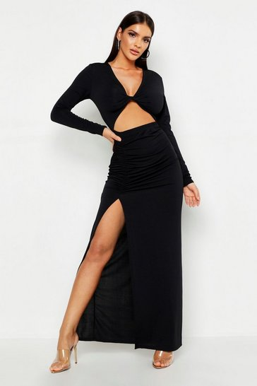 Womens Black Plunge Twist Cut Out Split Maxi Dress