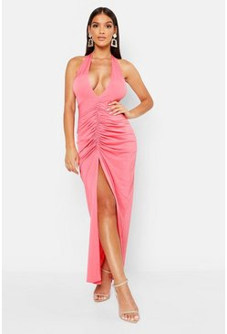 Womens Coral Plunge Rouche Front Split Front Maxi Dress
