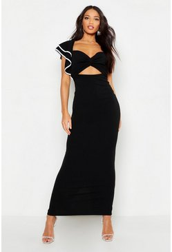 Womens Black One Shoulder Ruffle Twist Maxi Dress