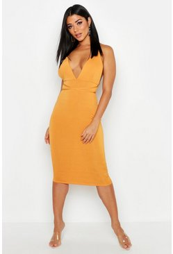 Womens Mustard Plunge Rouche Back Strappy Midi Dress