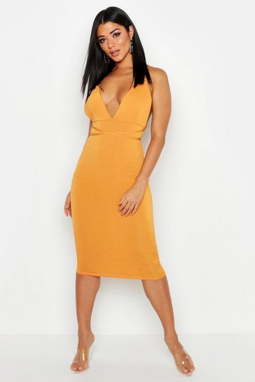 Womens Plunge Rouche Back Strappy Midi Dress