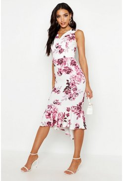 Womens Blush Floral Bardot Fishtail Midi Dress