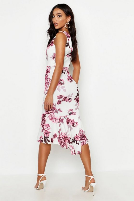 Floral Bardot Fishtail Midi Dress