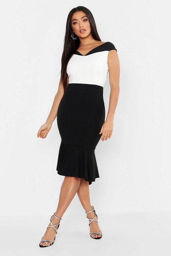 Bardot Colour Block Fishtail Dress