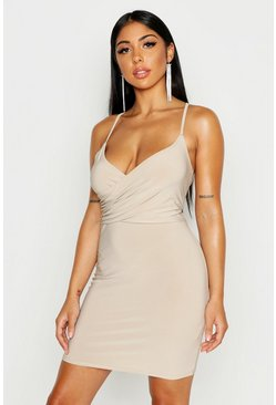 Womens Stone Cross Front & Back Mini Dress