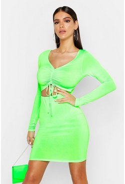 Womens Neon-green Rouche Front Cut Out Bodycon Dress