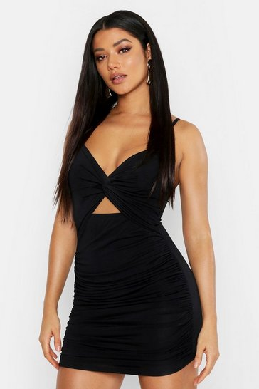 Black Rouche Knot Front Bodycon Mini Dress