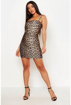 Womens Brown Leopard Bodycon Mini Dress