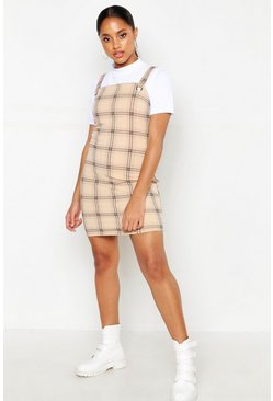 Womens Stone Check Eyelet Pinafore Dress
