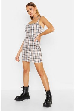 Womens Mustard Check Jersey Pinafore Dress