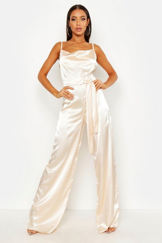 Womens Champagne Satin Wide Leg Cowl Neck Jumpsuit