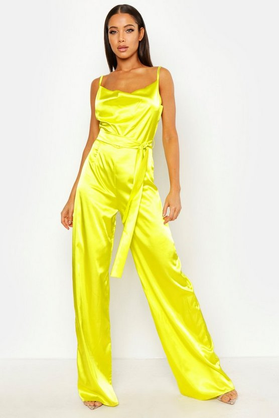 Womens Chartreuse Satin Wide Leg Cowl Neck Jumpsuit
