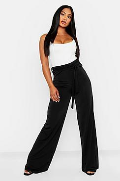 60s – 70s Pants, Jeans, Hippie, Bell Bottoms, Jumpsuits Disco Slinky Tie Waist Wide Leg Trousers $40.00 AT vintagedancer.com