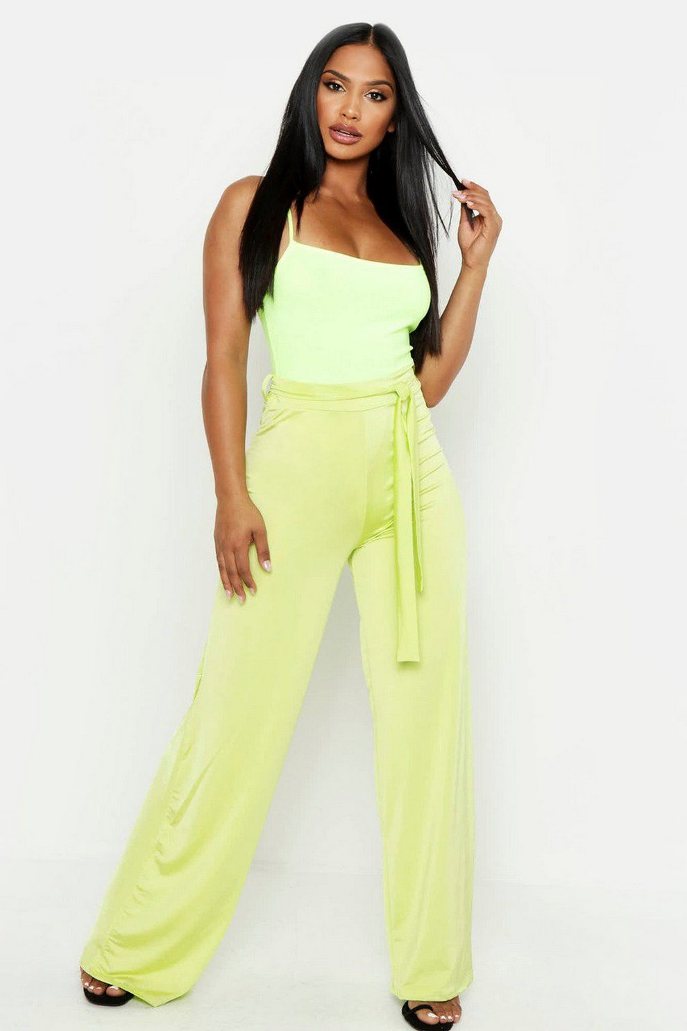 f513acfb948c Womens Neon-lime Disco Slinky Tie Waist Wide Leg Trousers