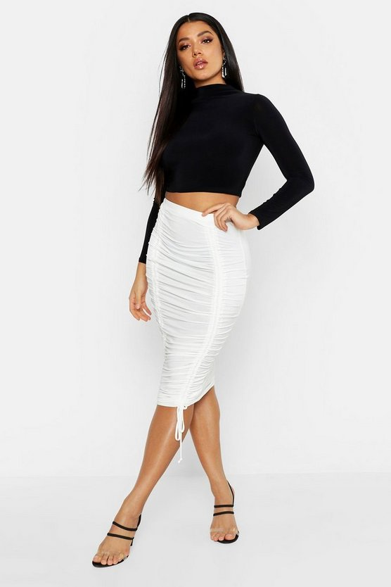 Womens Ivory Slinky Ruched Midi Skirt