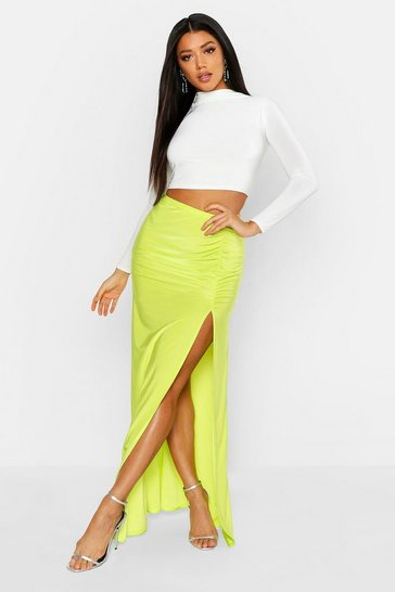 Womens Green Ruched Front Side Split Slinky Maxi Skirt