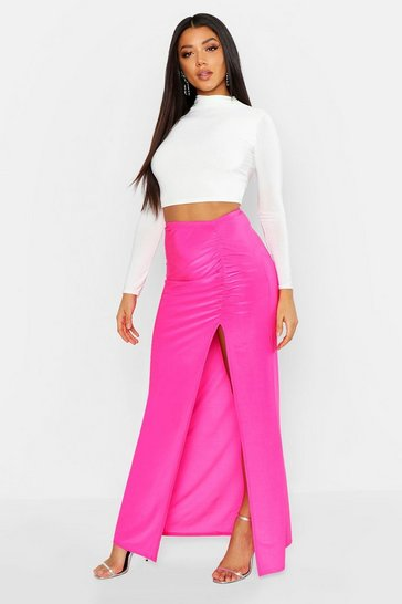 Womens Pink Ruched Front Side Split Slinky Maxi Skirt