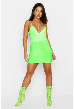 Womens Green Rib Mini Skirt