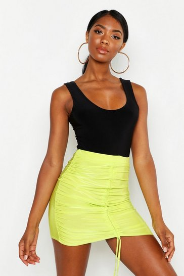 Womens Green Ruched Front Slinky Mini Skirt
