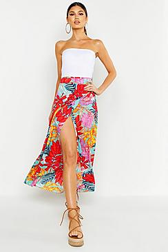 Large Palm Print Wrapped Maxi Skirt