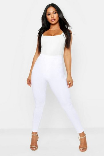 Womens White Textured Sheared Leggings