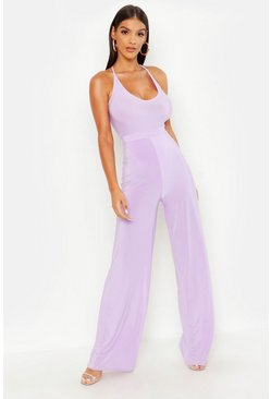 Lilac Slinky Wide Leg Palazzo Trousers