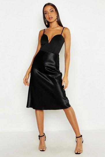 Black Satin Bias Midi Skirt