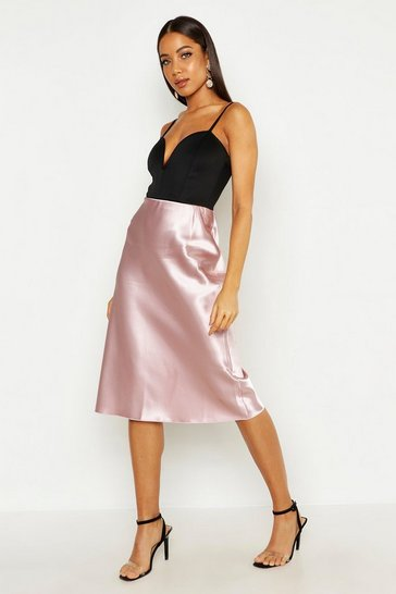 Womens Blush Satin Bias Midi Skirt