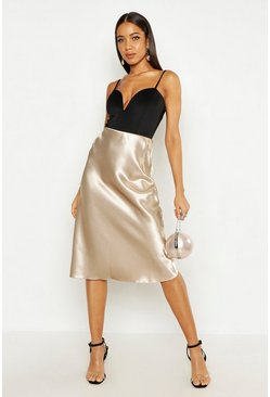 Womens Champagne Satin Bias Midi Skirt