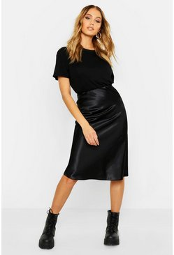 Womens Black Neon Luxe Satin Bias Cut Midi Skirt