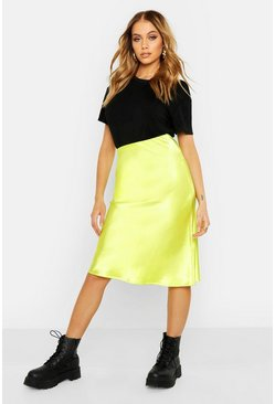 Womens Lime Neon Luxe Satin Bias Cut Midi Skirt