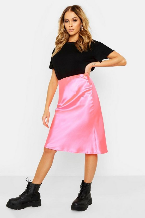 Womens Pink Neon Luxe Satin Bias Cut Midi Skirt