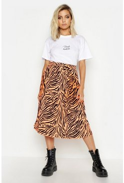 Womens Coral Zebra Ombre Pleated Midi Skirt