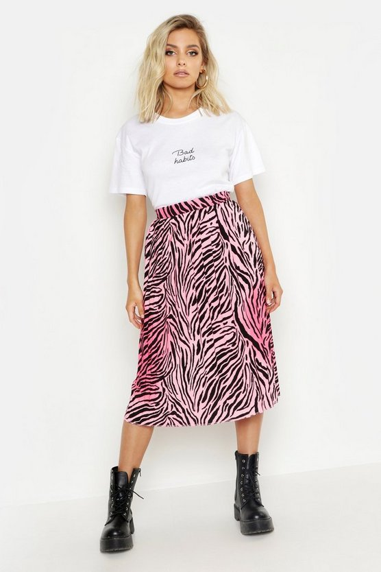 Womens Pink Zebra Ombre Pleated Midi Skirt