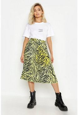 Yellow Zebra Ombre Pleated Midi Skirt
