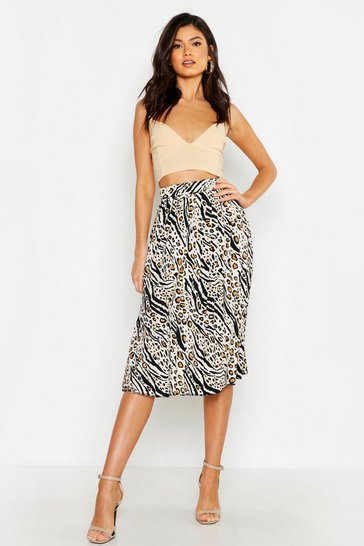 Womens Ecru Leopard Mixed Print Pleated Midi Skirt