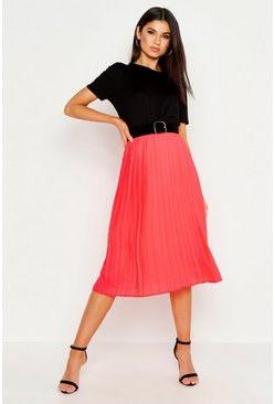 Womens Coral Pleated Midi Skirt
