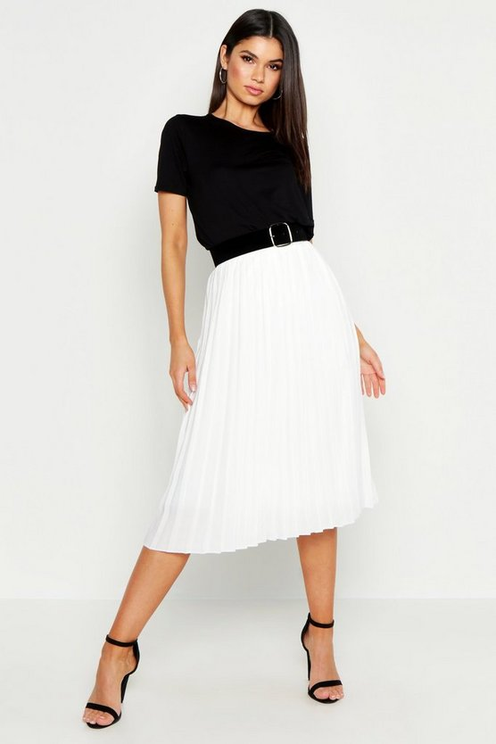 Womens White Pleated Midi Skirt