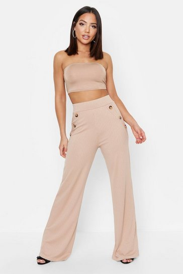 Womens Sand Mock Horn Button Ribbed Wide Leg Trousers