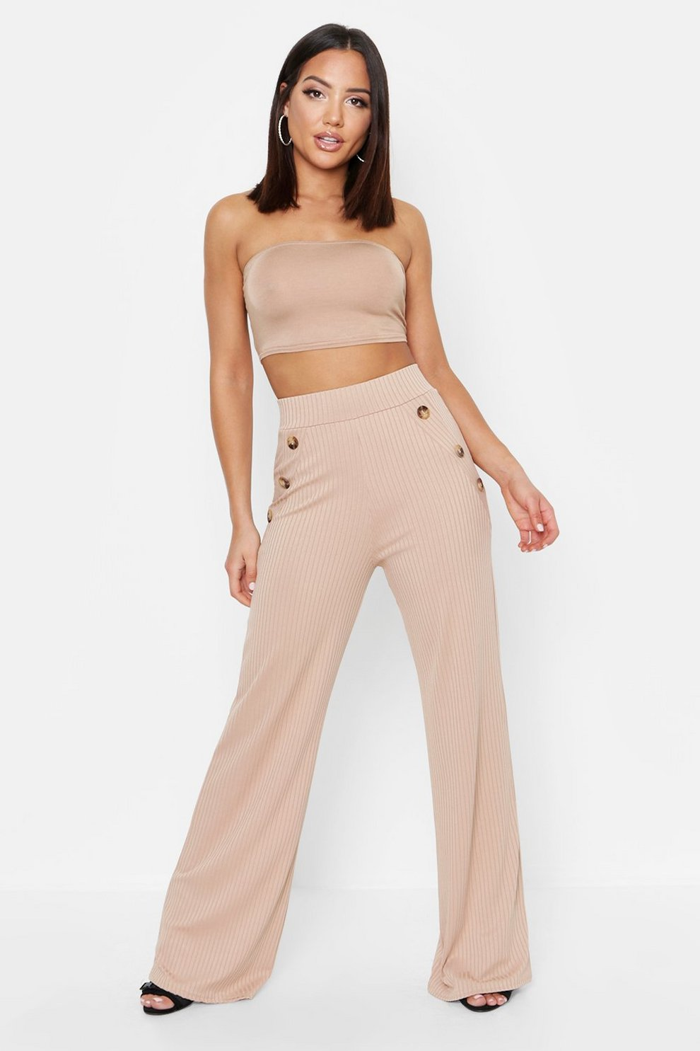 e6b0bf67b855 Mock Horn Button Rib Wide Leg Trousers | Boohoo
