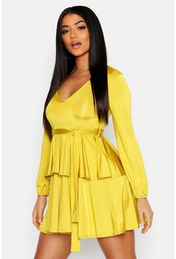 Womens Chartreuse Plunge Front Slinky Belted Skater Dress