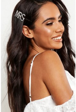 Silver MRS Diamante Hair Slide