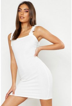 Womens White Ruffle Rib Mini Dress