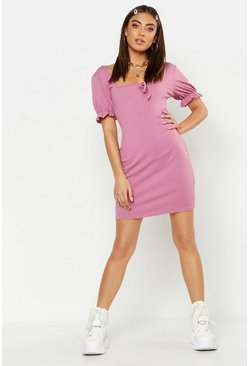 Womens Rose Puff Sleeve Rib Square Neck Mini Dress