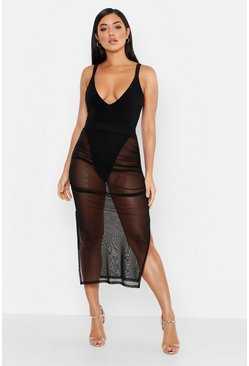 Womens Black Mesh Ruched Midi Skirt