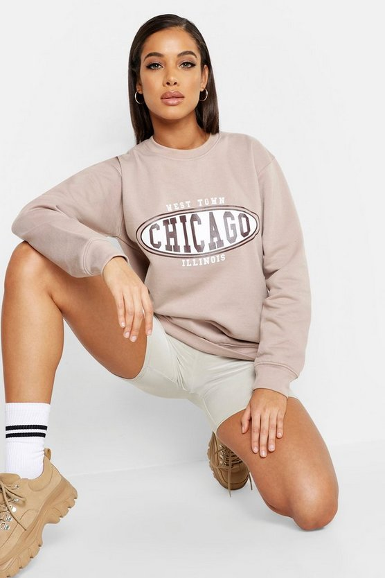 Womens Stone Chicago Slogan Sweatshirt